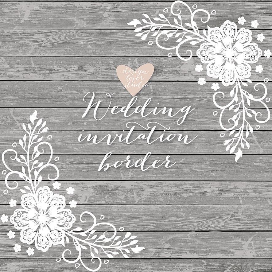 Wedding Borders: Premium VECTOR Lace Border Rustic Wedding Invitation Border