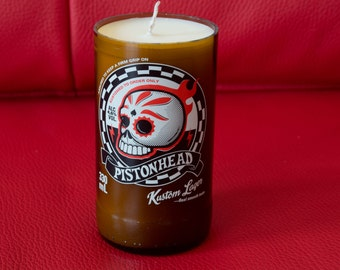 Pistonhead Kustom Lager upcycled bottle candle