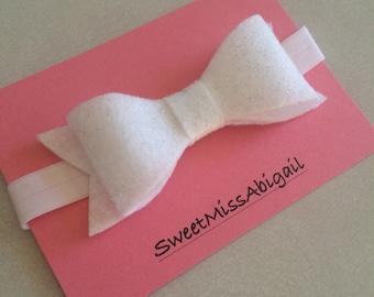 White Bow Headband; White Sparkle; Felt Bow Headband; Baby Girl Headbands