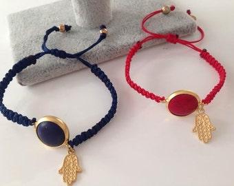 Braided Bracelet red navy yellow friendship bracelet