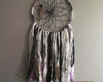 Bohemian Handmade Dream Catcher, Purple, Black, White, Feathers, beads, dreamcatcher