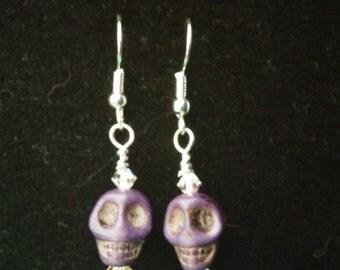 purple sugar skull earrings