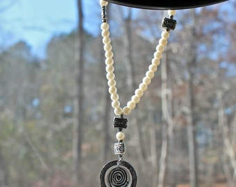 The Soul's Traveller – A Rear View Mirror Charm Companion (White Beads / Silver Charm)