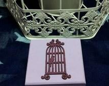 Wedding Ring Box, Ring Bearer, Birdcage, Jewellery Box, Trinket Box. Lilac & Dark Purple Birdcage
