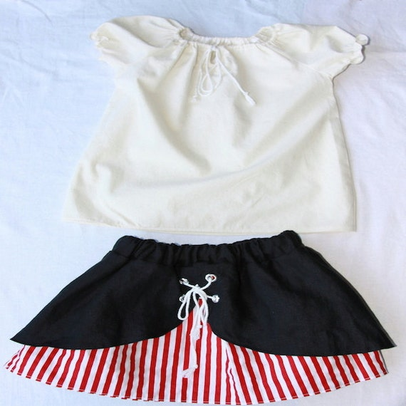 Red and white striped toddler pirate skirt with tied contrast shell and drawstring shirred sleeve blouse