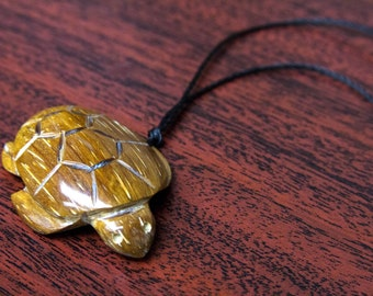 Hand-carved Wooden Turtle Necklace