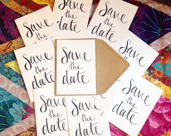 10 Save The Date custom / personalised calligraphy wedding / party invitations and envelopes / A6