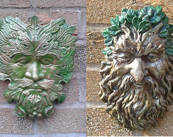 Bearded GreenMan and Classic GreenMan Garden Wall Plaques - Hand Cast & Painted PAGAN WICCAN