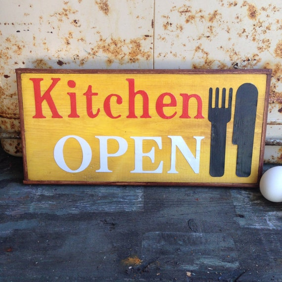 Kitchen Open Handmade Sign With Chestnut Trim Saffron