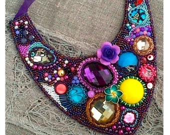 Statement bead embroidery necklace, Handmade, Beadwork jewelry, Freeform necklace, Boho, In summer, Unique gift for her, Wedding jewelry