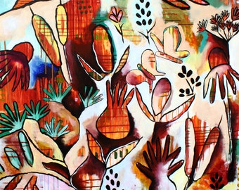 HUGE Contemporary Abstract, Nature, Autumn, Thistle, Butterfly, Wildflower