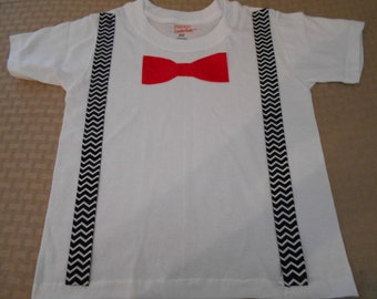 Toddler Boy Hipster T Shirt Suspenders & Red Bow Tie Outfit Formal