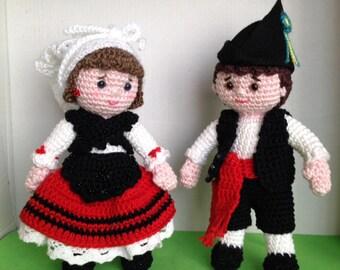 Patrón Pareja de Asturianos amigurumi crochet ganchillo