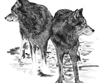 "Two Wolves| 8""x10"" Art Print"