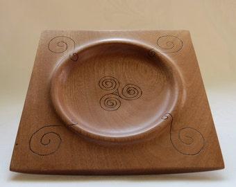 Turned and square mahogany wooden Bowl / Square mahogany turned wood bowl