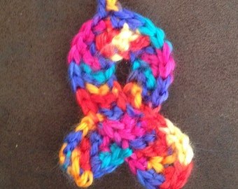 Crocheted Autism Awareness Keychain