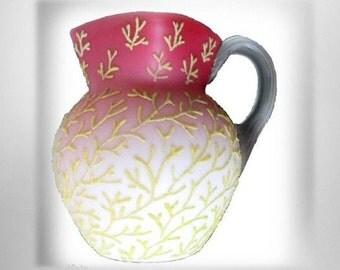 Mount Washington coralene pitcher with yellow beaded seaweed design