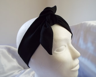 Black adult head band hair wrap scarf bandana headwrap