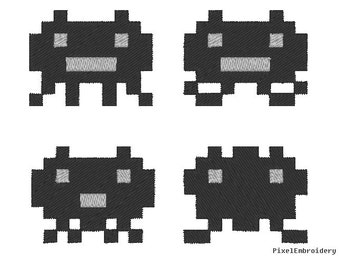 Space Invaders arcade video game pixel Embroidery pattern design instant download digital format for embroidery machine by pixelEmbroidery