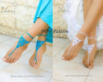 CROCHET barefoot sandals PATTERN #6, Beach wedding, PDF Patterns, Crochet Pdf pattern, Bridal sandals
