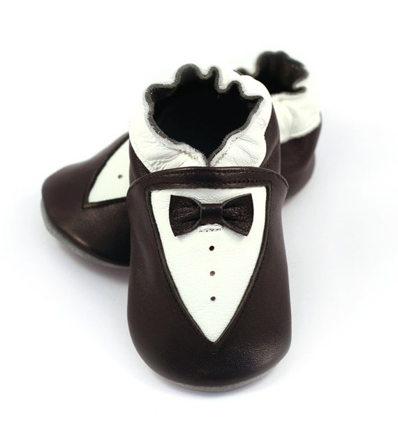 Tuxedo baby shoes for boys white and black dressy leather