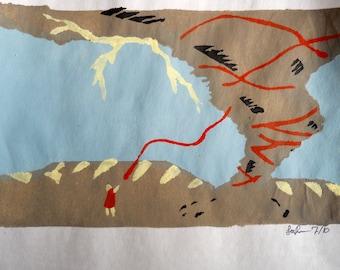 Ribbon; a five-color pochoir print