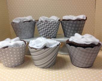 Gray Cupcake Wrappers - set of 10