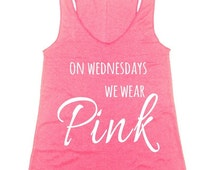 on Wednesdays we wear pink workout tank top gym tank fitness tank available S M L XL  11 colors option