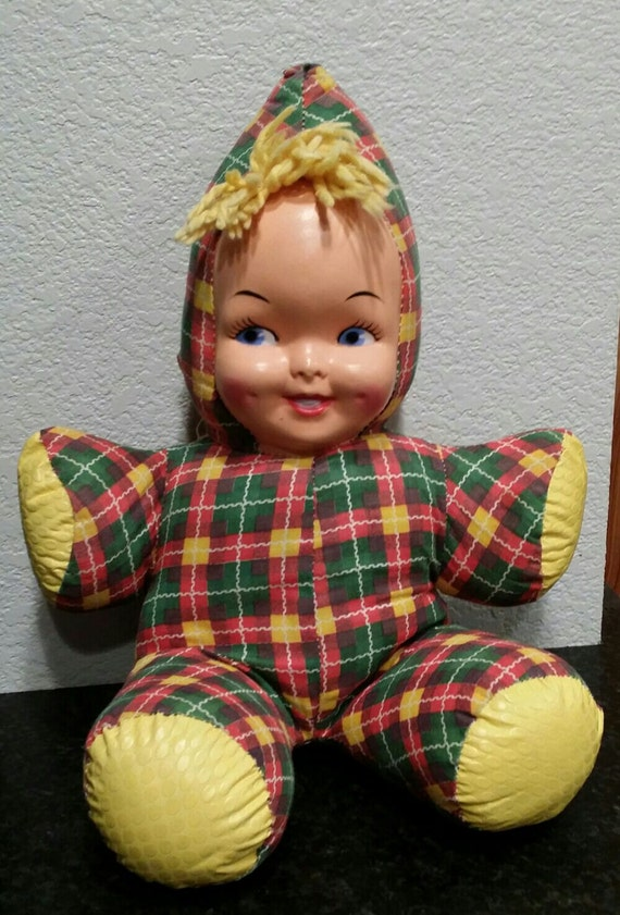 Vintage Doll Stuffed 1960 S Plastic Face Retro By