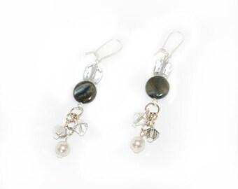 Grey Earrings, black earrings, dangle, sparkle, fashion earrings, fashion accessory