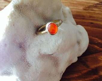CARNELIAN - Solitaire Carnelian and Gold Vermeil Ring