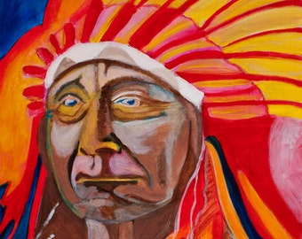Native American: Origianl Acrylic Painting on Canvas Board