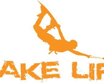 Wake Life Vinyl Decal (Orange) - WAKELIFE, Wakeboard Sticker, Wakeboarding