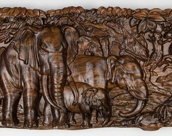 "Wood carving ""Elephants"" - carved solid walnut wood"
