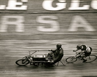 Paul Desoye Photo, Bicycle Racing, Paris, 1890-1920, motorcycle pacer