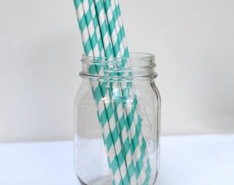 Striped Paper Straws Turquoise Pack of 25 Party Supplies