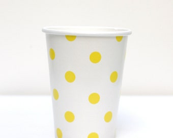 Yellow Polka Dot Cups Pack of 12