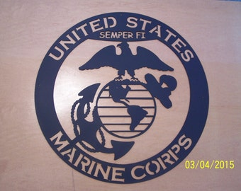 Marine Corp Globe and Anchor Laser Cut Silhouette