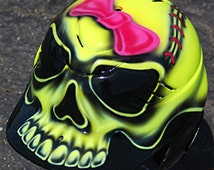 Airbrushed Batting Helmet / Softball Design with Bow / Personalize with Name on Back