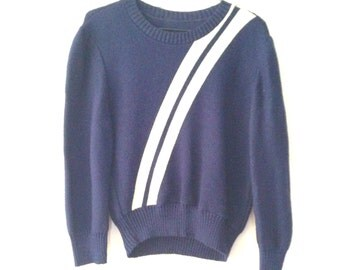 Vintage Navy blue Sweater with White Stripes