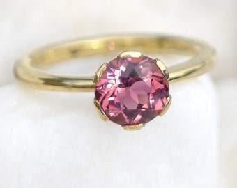 Pink Tourmaline Engagement Ring - Eco Friendly - 18k Yellow or White Gold - Handmade to Size