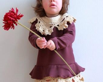 Dress girl in neoprene with crochet details. wine color. Handmade. Sylvia Marie