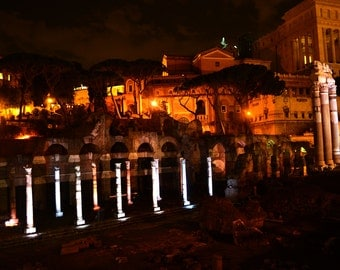 Rome Italy Photography - Forum Columns Standing Tall At Night Time Long Exposure 30 Seconds Travel Photography Art Print Photo Italian