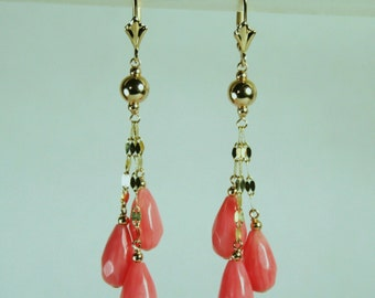 14K solid yellow gold natural faceted teardrop pink Coral earrings leverback