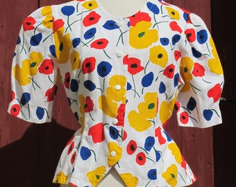 SALE Multicolored 1980s floral Primary colours Top