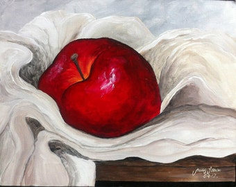 "Red Appe 1 Still LifePainting  Acrylic 11""x14"" canvas panel ready for framing"