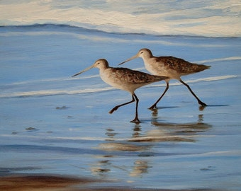 Beach greeting card, Sandpipers, nautical, beach art, coastal, shabby chic, birds, from original oil painting by Tina O'Brien