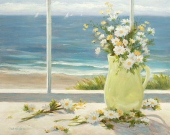 Beach greeting card, daisies, still life, coastal, beach art, shabby chic,from original painting by Tina O'Brien