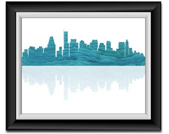 Boston Skyline Massachusetts City Royal Blue Watercolor Cityscape Poster Print Modern Abstract Landscape Art Painting