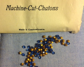 3mm sapphire rhinestones, five dozen pointed back chatons